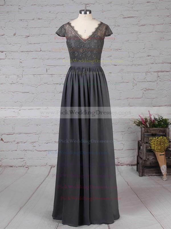 A-line V-neck Lace Chiffon Floor-length Sashes / Ribbons Bridesmaid Dresses #PWD01013569
