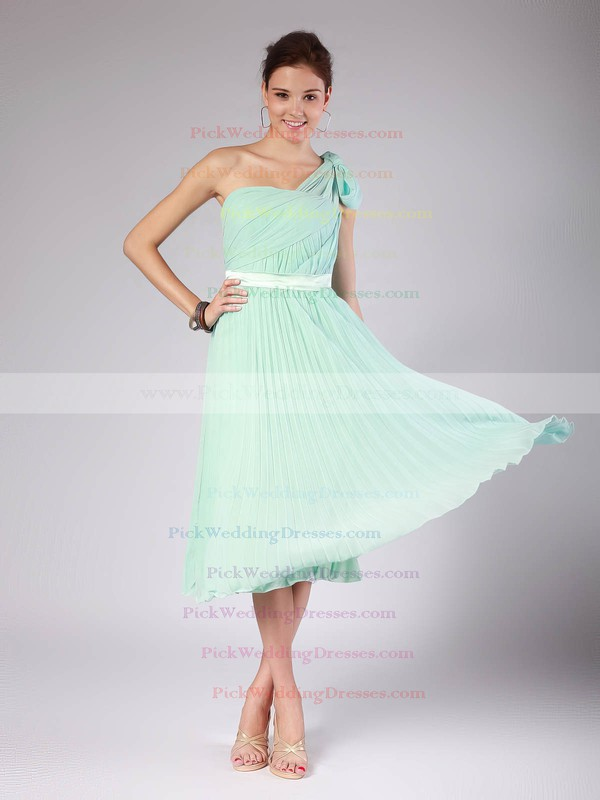 A-line Tea-length Chiffon Pleats One Shoulder Bridesmaid Dresses #PWD02013602