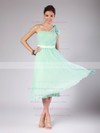 A-line Tea-length Chiffon Pleats One Shoulder Bridesmaid Dresses #PWD02013602