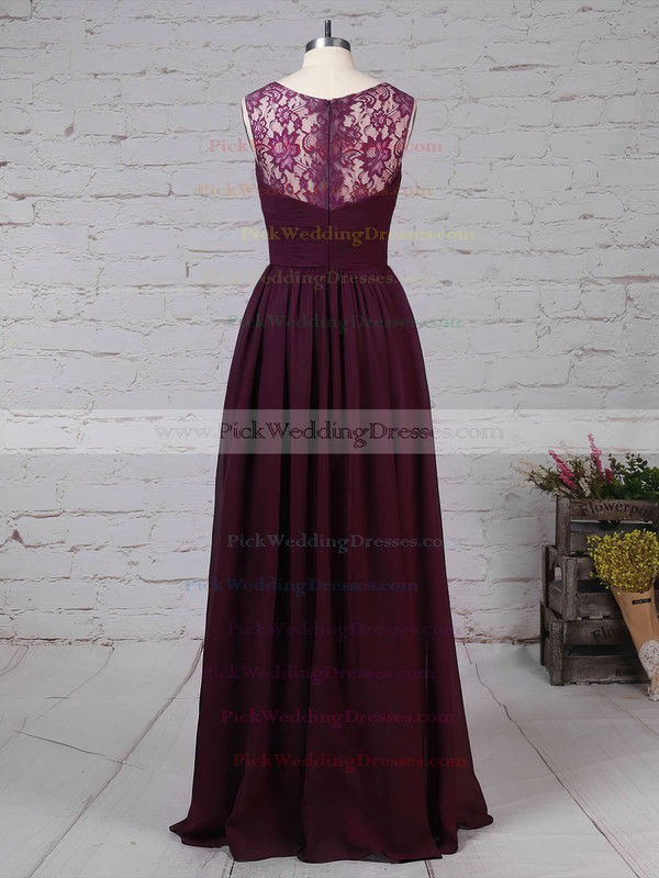 Lace Chiffon V-neck Floor-length A-line Ruffles Bridesmaid Dresses #PWD01013571