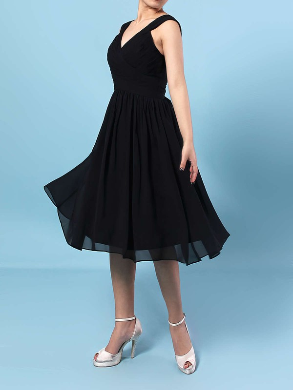 Chiffon V-neck Knee-length A-line Sashes / Ribbons Bridesmaid Dresses #PWD01013572