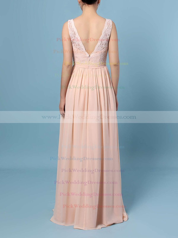 Lace Chiffon V-neck Floor-length A-line Sashes / Ribbons Bridesmaid Dresses #PWD01013574