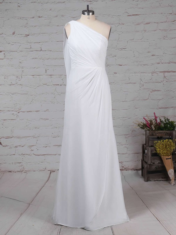 Chiffon One Shoulder Floor-length Sheath/Column Ruffles Bridesmaid Dresses #PWD01013575