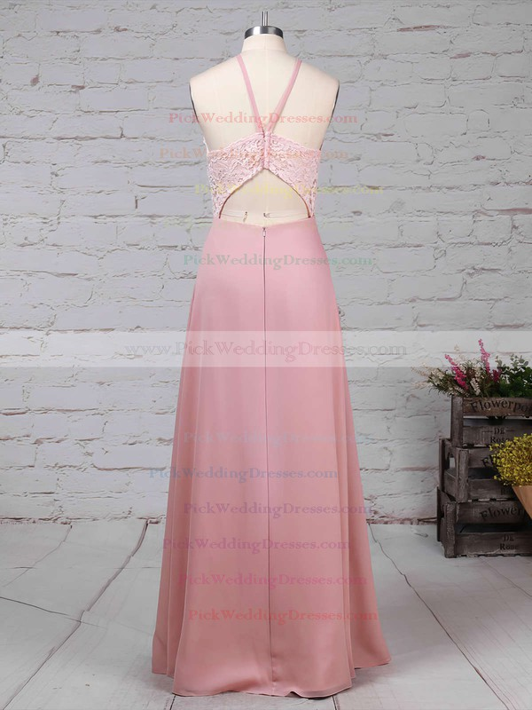 Chiffon Scoop Neck Floor-length Sheath/Column Lace Bridesmaid Dresses #PWD01013576