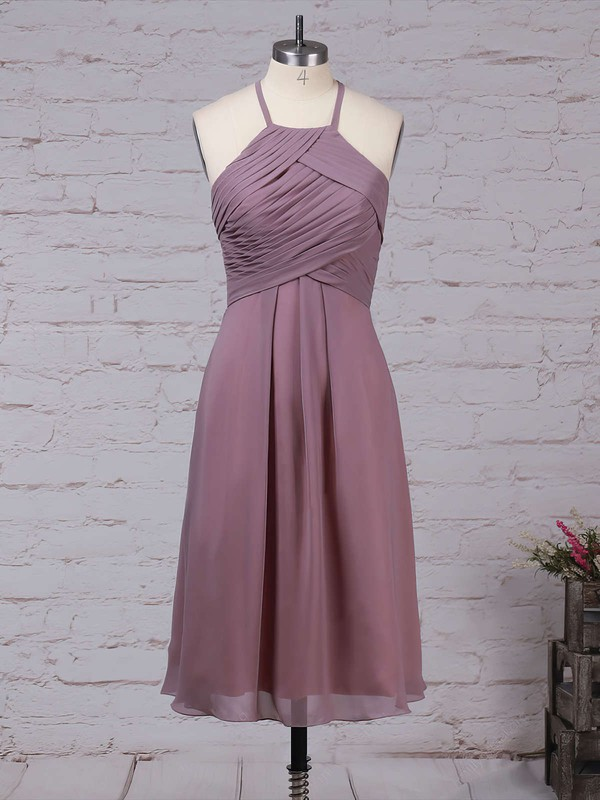 Chiffon Scoop Neck Knee-length A-line Ruffles Bridesmaid Dresses #PWD01013581