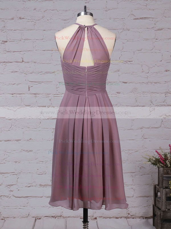 Chiffon Scoop Neck Knee-length A-line Ruffles Bridesmaid Dresses #PWD01013581