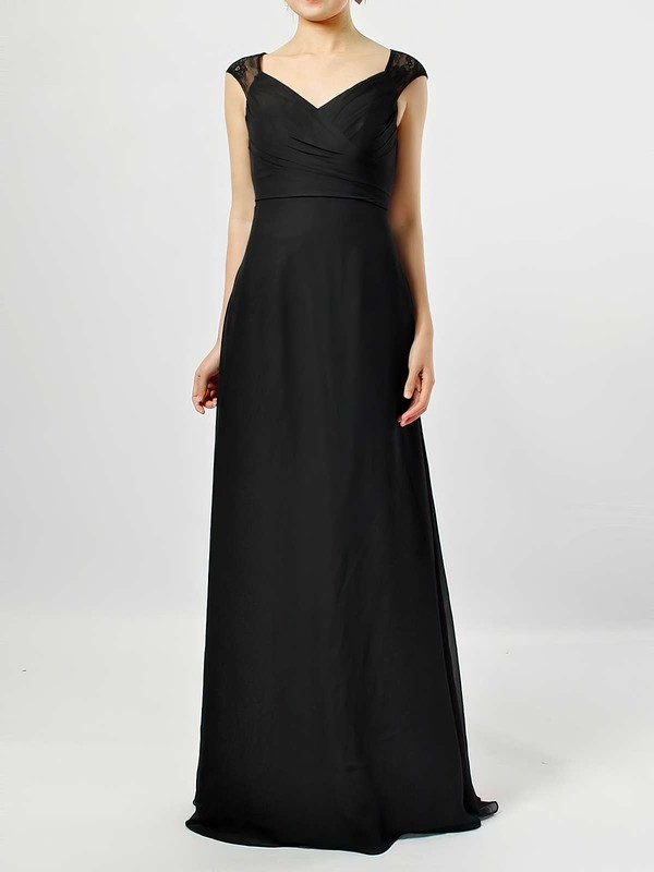Lace Chiffon V-neck Floor-length Empire Ruffles Bridesmaid Dresses #PWD01013582