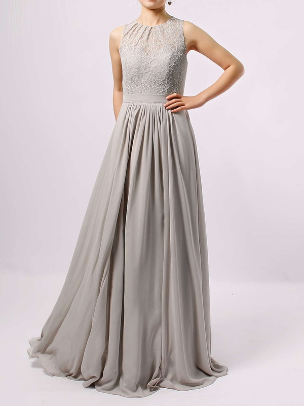 A-line Scoop Neck Lace Chiffon Floor-length Sashes / Ribbons Bridesmaid Dresses #PWD01013584