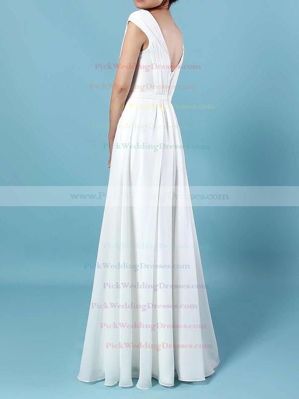Chiffon V-neck Floor-length A-line Ruffles Bridesmaid Dresses #PWD01013587