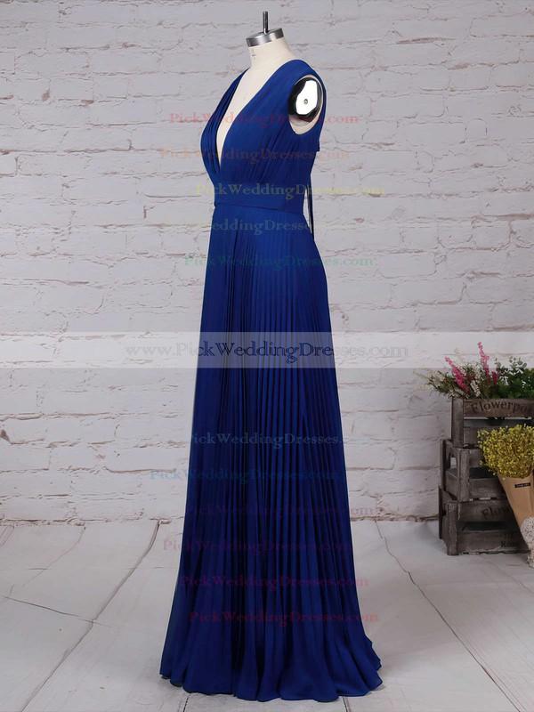 Chiffon V-neck Floor-length A-line Pleats Bridesmaid Dresses #PWD01013591