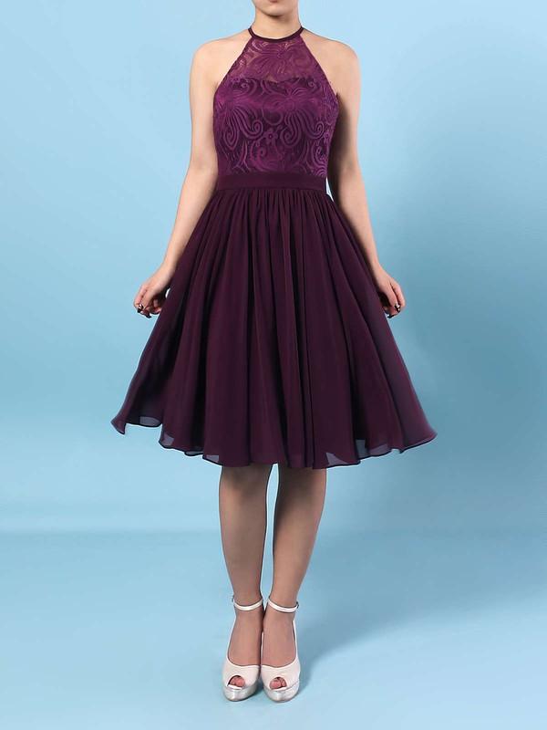 Lace Chiffon Scoop Neck Short/Mini A-line Ruffles Bridesmaid Dresses #PWD01013592