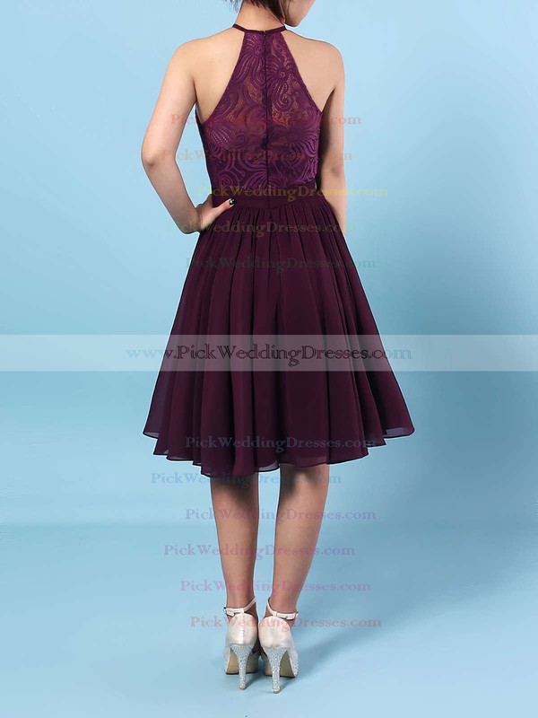 Lace Chiffon Scoop Neck Short/Mini A-line Ruffles Bridesmaid Dresses #PWD01013592
