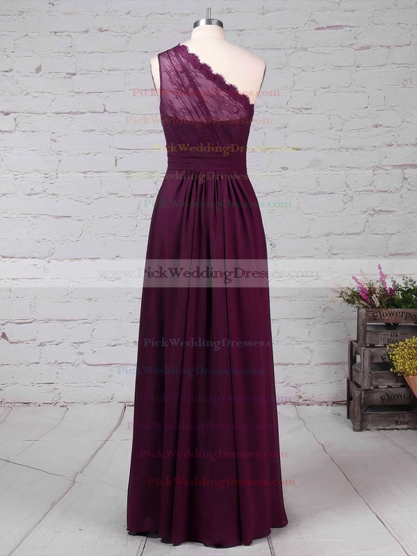 Lace Chiffon One Shoulder Floor-length A-line Ruffles Bridesmaid Dresses #PWD01013594
