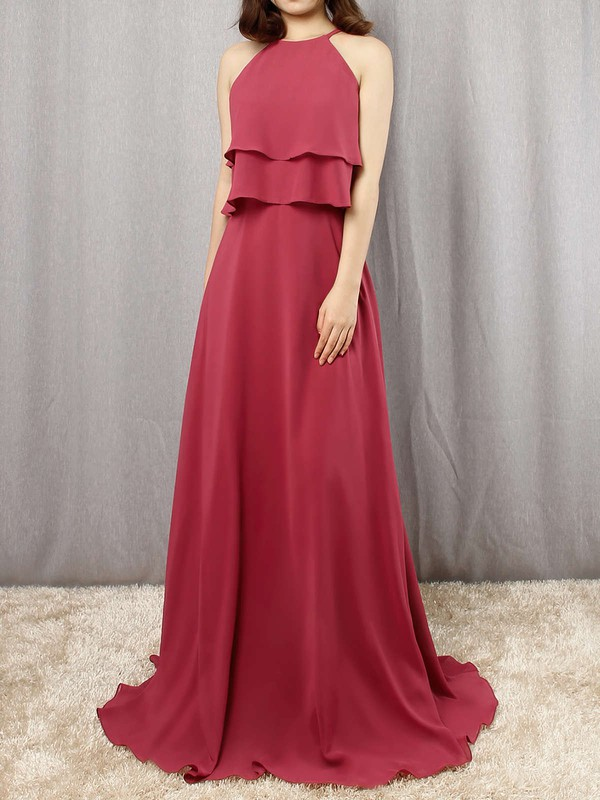 Chiffon Scoop Neck Floor-length A-line Cascading Ruffles Bridesmaid Dresses #PWD01013595