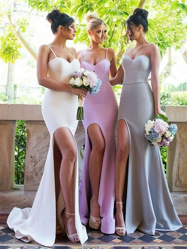 Silk-like Satin Sweetheart Sweep Train Trumpet/Mermaid Split Front Bridesmaid Dresses #PWD01013667