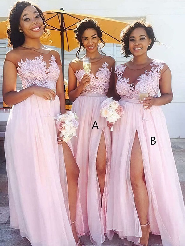 Chiffon Tulle Scoop Neck Floor-length A-line Appliques Lace Bridesmaid Dresses #PWD01013668