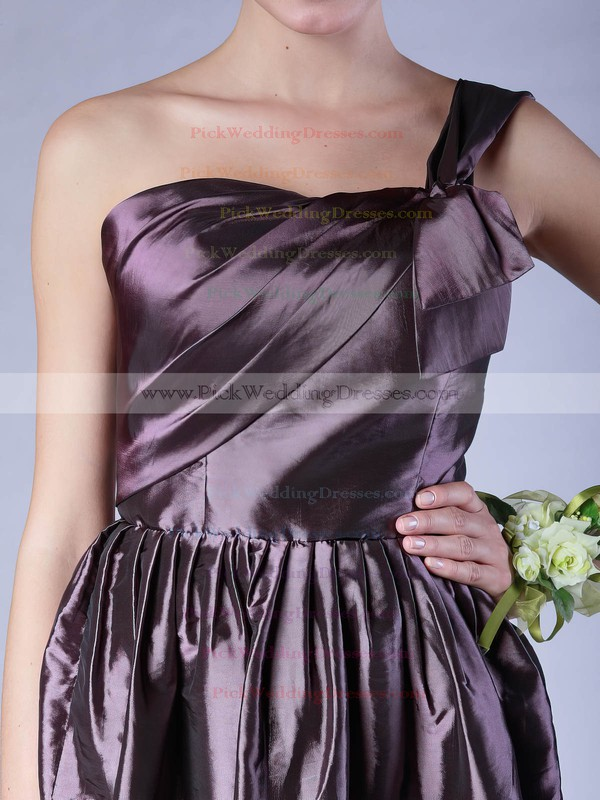 A-line Short/Mini Taffeta Pleats One Shoulder Bridesmaid Dresses #PWD02013605