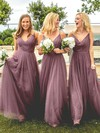 Tulle V-neck Floor-length A-line Ruffles Bridesmaid Dresses #PWD01013670