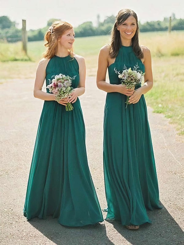 Chiffon Scoop Neck Floor-length A-line Bridesmaid Dresses #PWD01013671