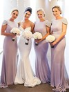 Jersey Scoop Neck Sweep Train Trumpet/Mermaid Beading Bridesmaid Dresses #PWD01013675