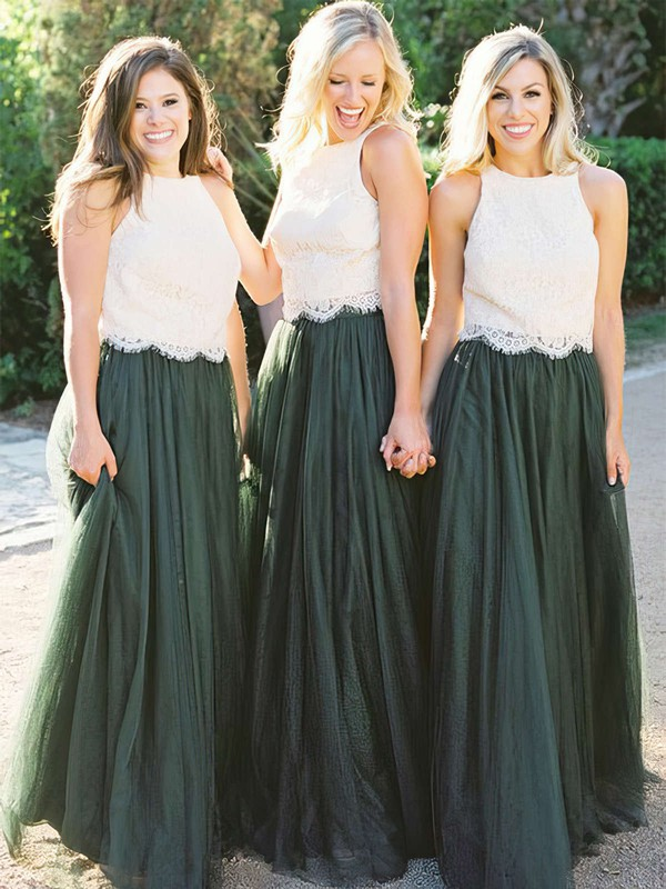 Tulle Scoop Neck Floor-length A-line Lace Bridesmaid Dresses #PWD01013676
