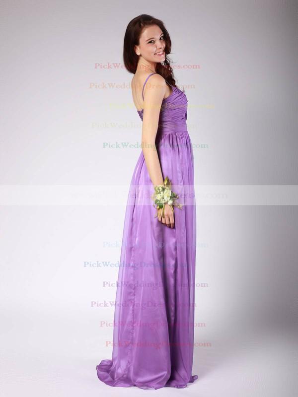 Sheath/Column Floor-length Chiffon Pleats Spaghetti Straps Bridesmaid Dresses #PWD02013606