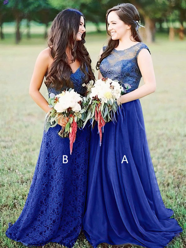 Tulle Scoop Neck Sweep Train A-line Lace Bridesmaid Dresses #PWD01013680