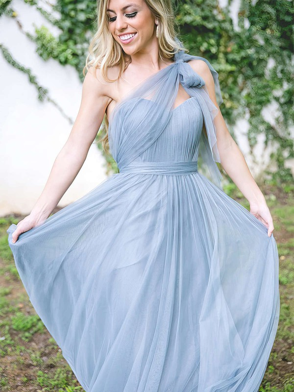Tulle One Shoulder Floor-length A-line Ruffles Bridesmaid Dresses #PWD01013681