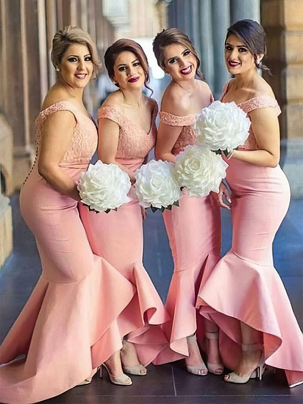 Silk-like Satin Off-the-shoulder Asymmetrical Trumpet/Mermaid Lace Bridesmaid Dresses #PWD01013683