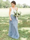 Tulle Scoop Neck Floor-length A-line Bridesmaid Dresses #PWD01013687