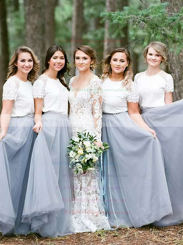 Tulle Scoop Neck Floor-length A-line Lace Bridesmaid Dresses #PWD01013688