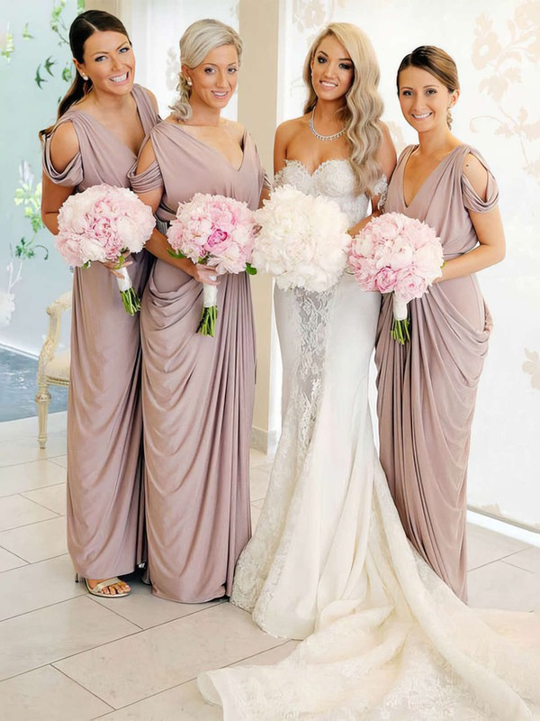 Silk-like Satin V-neck Floor-length Sheath/Column Pick-Ups Bridesmaid Dresses #PWD01013690