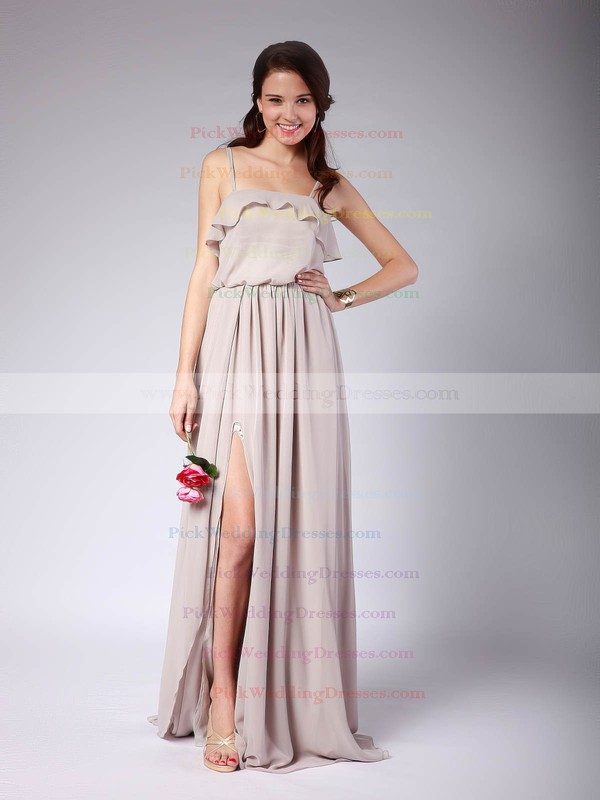 A-line Floor-length Chiffon Pleats Strapless Bridesmaid Dresses #PWD02013608