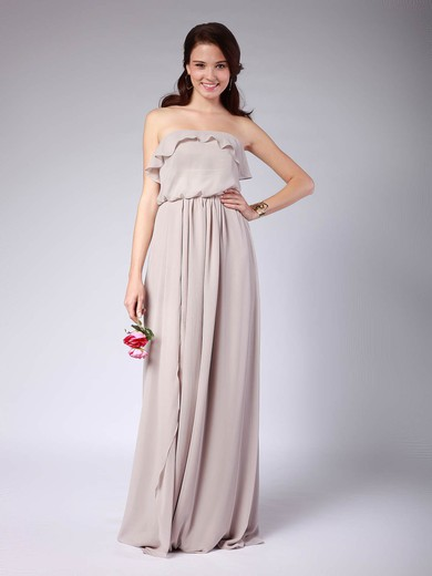 A-line Floor-length Chiffon Pleats Strapless Bridesmaid Dresses #PWD02013608