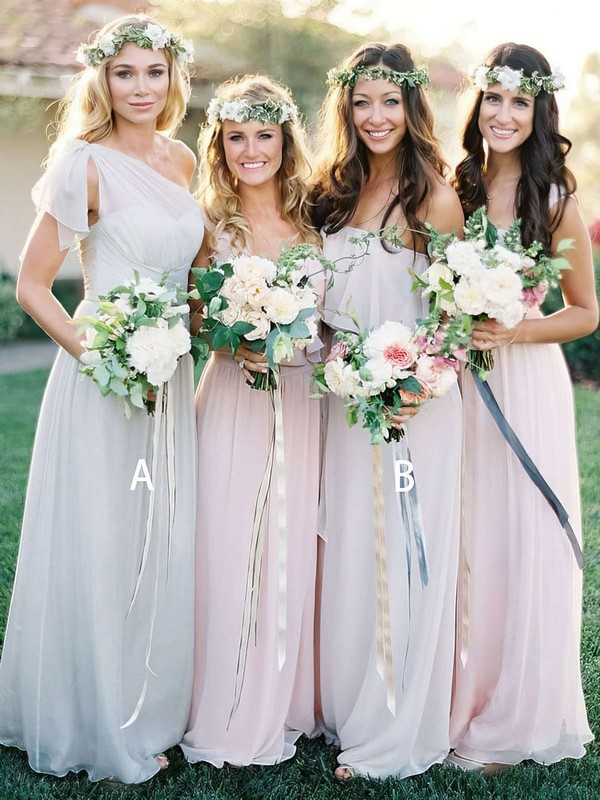Chiffon One Shoulder Floor-length A-line Ruffles Bridesmaid Dresses #PWD01013691
