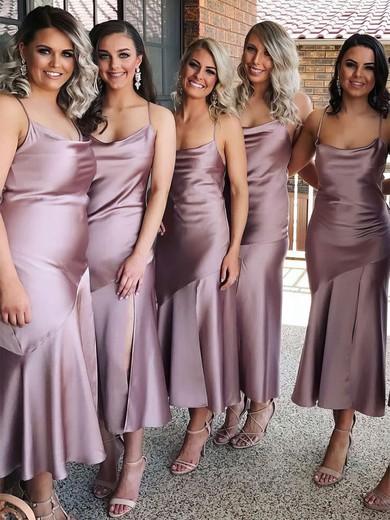 Silk-like Satin Cowl Neck Tea-length Sheath/Column Bridesmaid Dresses #PWD01013693