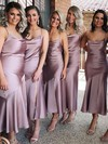 Silk-like Satin Cowl Neck Tea-length Sheath/Column Bridesmaid Dresses #PWD01013693