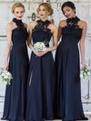 Lace Chiffon High Neck Floor-length A-line Split Front Bridesmaid Dresses #PWD01013694