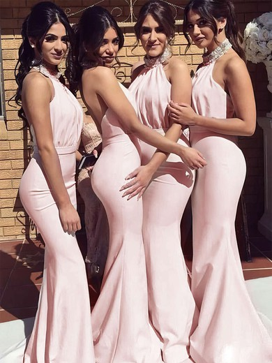 Silk-like Satin Halter Sweep Train Trumpet/Mermaid Beading Bridesmaid Dresses #PWD01013695