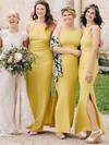 Silk-like Satin Scoop Neck Ankle-length Sheath/Column Split Front Bridesmaid Dresses #PWD01013696