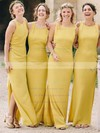 Silk-like Satin Scoop Neck Ankle-length Sheath/Column Split Front Bridesmaid Dresses #PWD01013696