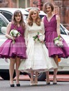 Organza V-neck Knee-length Ball Gown Ruffles Bridesmaid Dresses #PWD01013697