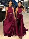 Tulle Silk-like Satin High Neck Sweep Train A-line Sashes / Ribbons Bridesmaid Dresses #PWD01013699