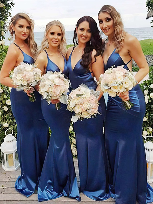 Silk-like Satin V-neck Sweep Train Trumpet/Mermaid Bridesmaid Dresses #PWD01013706