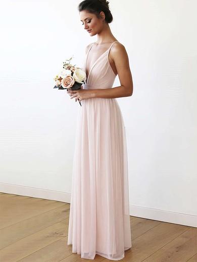 Chiffon V-neck Floor-length A-line Bridesmaid Dresses #PWD01013708