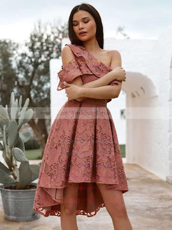 Lace One Shoulder Asymmetrical A-line Bridesmaid Dresses #PWD01013709