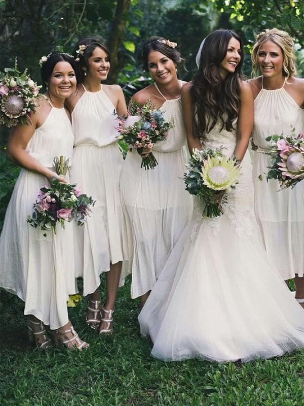 Chiffon Halter Tea-length A-line Bridesmaid Dresses #PWD01013711