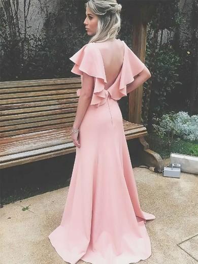 Silk-like Satin V-neck Sweep Train Sheath/Column Split Front Bridesmaid Dresses #PWD01013712