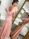 Silk-like Satin V-neck Sweep Train Sheath/Column Split Front Bridesmaid Dresses #PWD01013712