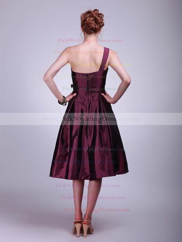 A-line Tea-length Taffeta Flower(s) One Shoulder Bridesmaid Dresses #PWD02013611